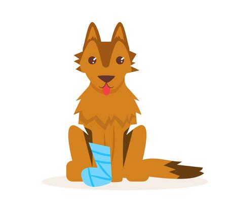 Dog with a broken leg. Vector.