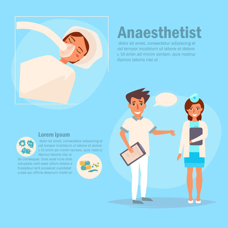 Doctor anaesthetist Vector. Cartoon.