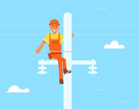 Electrician on the pole Vector. Cartoon Stock Photo