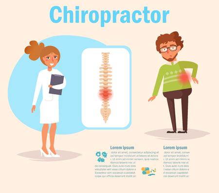Chiropractor Vector. Cartoon Illustration