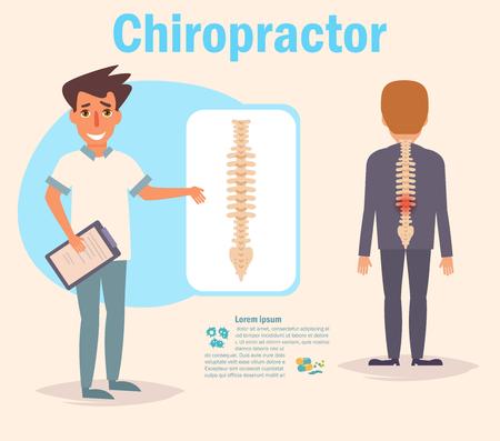 Chiropractor Vector. Cartoon. Illustration
