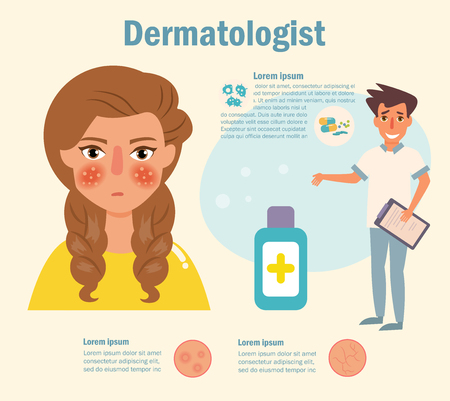 Dermatologist Doctor Skin problems Vector. Cartoon. Isolated art on white background. Flat Vettoriali