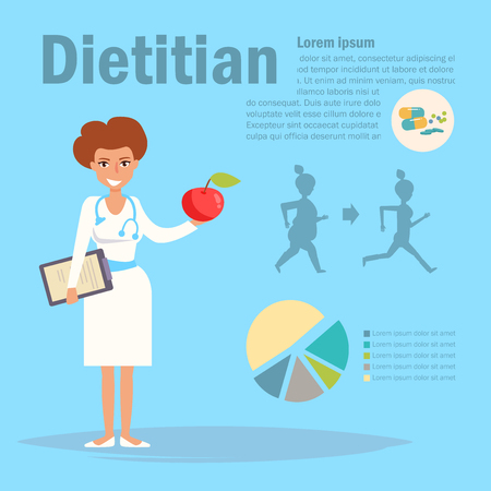 Dietitian Vector. Cartoon. Isolated art on blue background. Flat