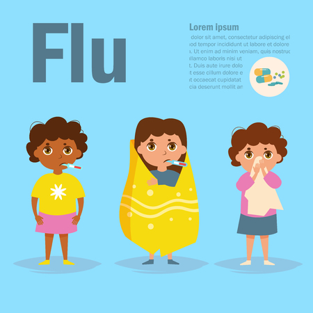 Child flu Vector. Cartoon. Isolated art on blue background. Flat