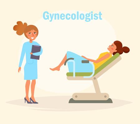 Gynecologist Vector. Cartoon. Isolated art on white background. Flat