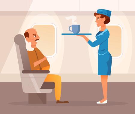 Stewardess brings food on the plane