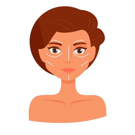 Plastic surgery. Vector. Cartoon. Isolated art on white background Flat