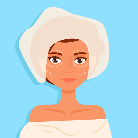 Plastic surgery Facial Vector. Cartoon. Isolated art on blue background. Flat