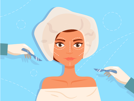 Plastic surgery Facial Vector. Cartoon. Isolated art on blue background. Flat Illustration