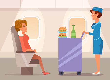 Stewardess with the food Vectores