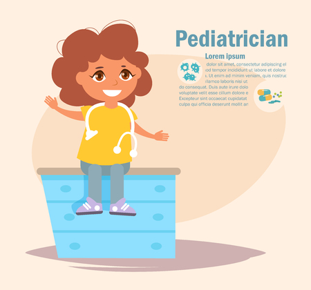 Pediatrician Vector. Cartoon. 矢量图像