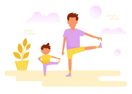 Dad and son. Sport Vector. Illustration