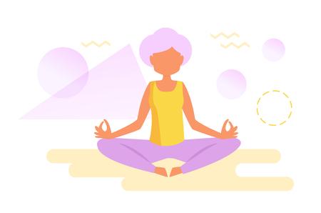 Yoga for the elderly Stock Vector - 102060172