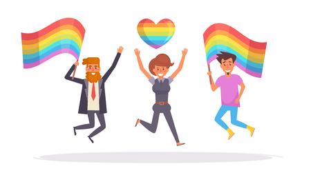LGBT parade Vector. Cartoon. Isolated art