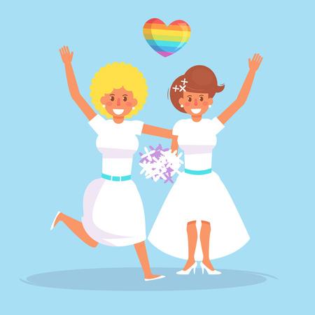 Lesbian wedding Vector.
