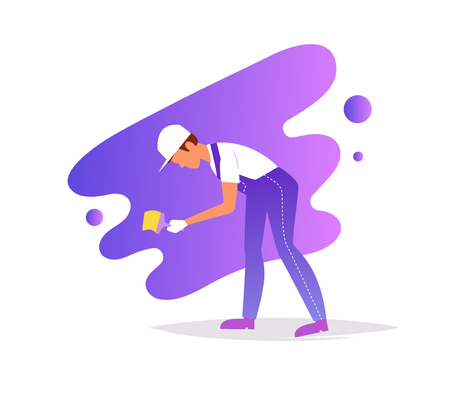 Painter paints the wall Vector. Cartoon. Isolated art on white background. Flat