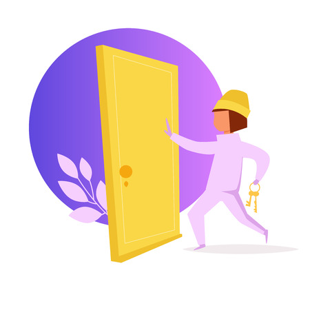 Thief opens the door. Robber. Vector. Cartoon. Isolated art on white background. Flat