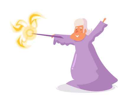 Wizard Vector. Cartoon. Isolated art on white background. Flat Imagens - 111932067
