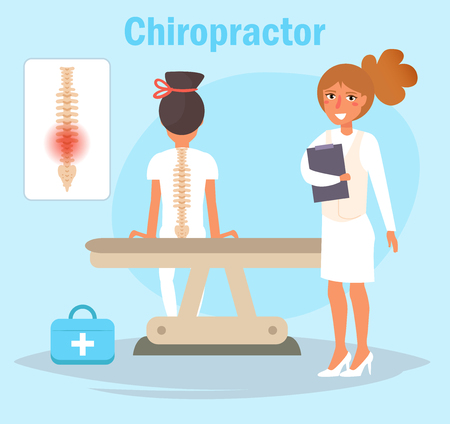 ChiropractorVector. Cartoon. Isolated art on blue background Flat Illustration