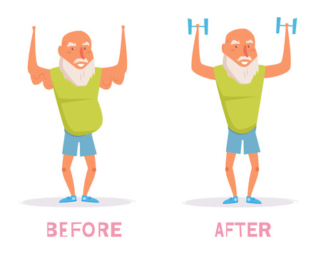Before, after, sport Vector. Cartoon. Isolated art on white background Flat