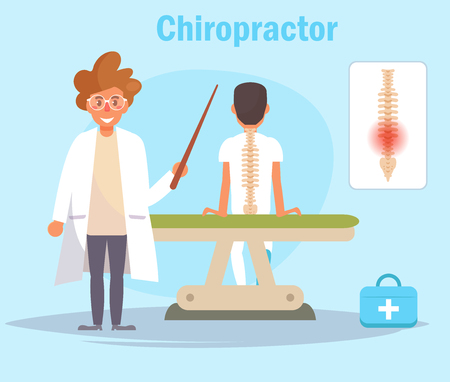 Chiropractor Vector. Cartoon. Isolated art on blue background.