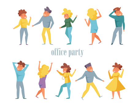 Office party Set with dancing people Vector. Cartoon. Isolated art on white background. Flat