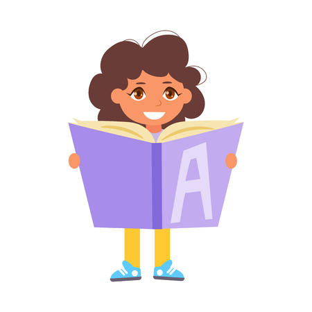Back to school Child reading book Vector. Cartoon. Isolated art on white background. Flat