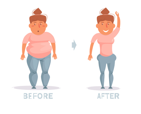 Weight loss. Before and after. Obesity Vector. Cartoon. Isolated art on white background. Flat