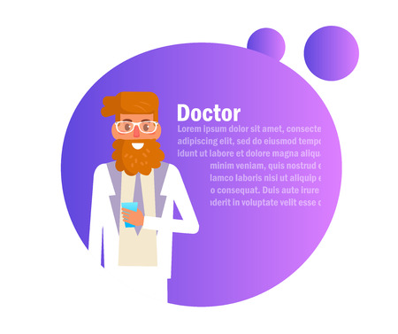 Doctor man in glasses Vector. Cartoon. Isolated art on white background. Flat