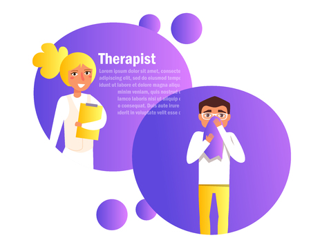 Therapist, consultation of the patient. online doctor Vector. Cartoon. Isolated art on white background. Flat Vector Illustration