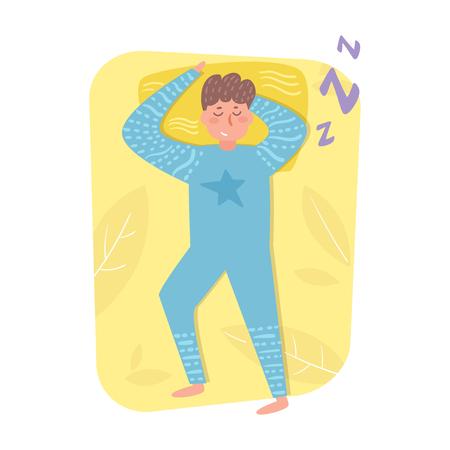 Man sleeping in bed Vector. Cartoon. Isolated art on white background. Flat Illusztráció