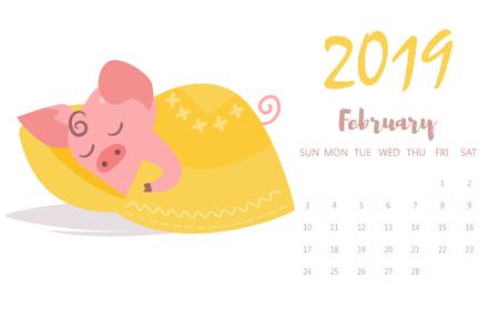Pig sleeping Vector. Cartoon. Isolated art. Flat February calendar 2019 写真素材