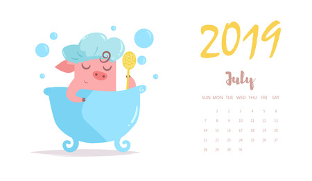 Piggy washes in bathroom. Vector. Cartoon. Isolated art Flat July calendar 2019