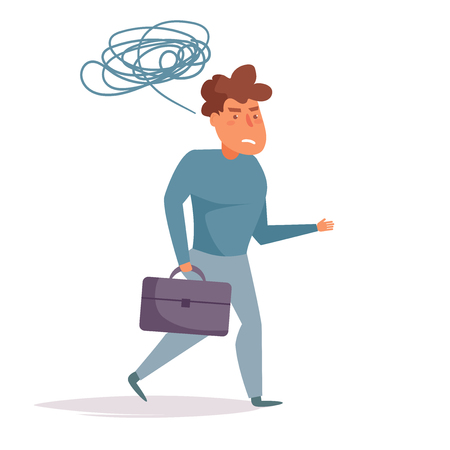 Tired man goes home from work Vector. Cartoon. Isolated art on white background. Flat Illustration