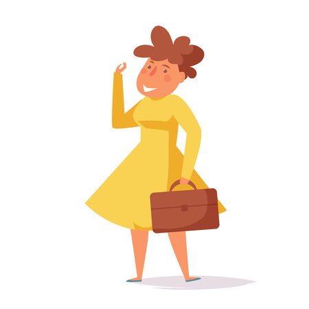 Cheerful woman goes to work Vector. Cartoon. Isolated art on white background. Flat