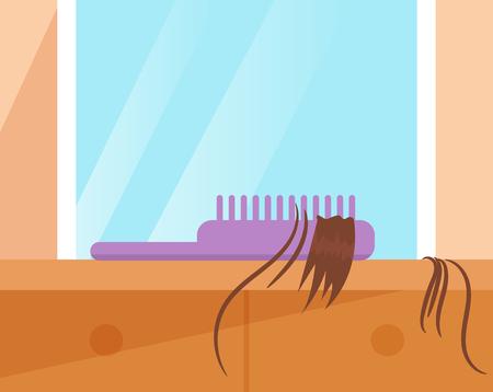 Comb with the hair. Hair loss Vector. Cartoon. Isolated art Archivio Fotografico