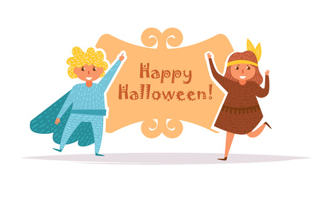Postcard with children in Halloween costumes Vector. Cartoon. Isolated