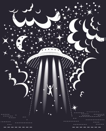 Vector de OVNI. Dibujos animados. Arte aislado Luna Estrellas Ilustración de vector