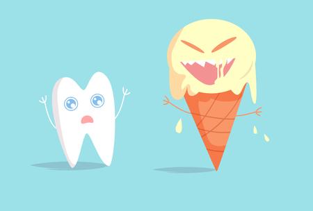 Sensitive tooth is afraid of sweet ice cream Vector. Cartoon