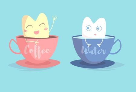 Dent jaune dans une tasse de café, dent blanche dans une tasse de vecteur d'eau. Dessin animé. Art isolé