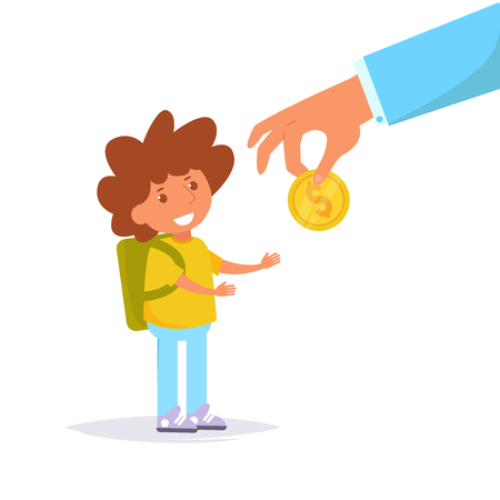 Father gives son money for pocket expenses. Vector. Cartoon. Isolated art on white background. Flat Illustration