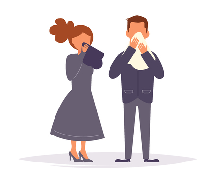 Mourning. Funeral People are crying Illustration