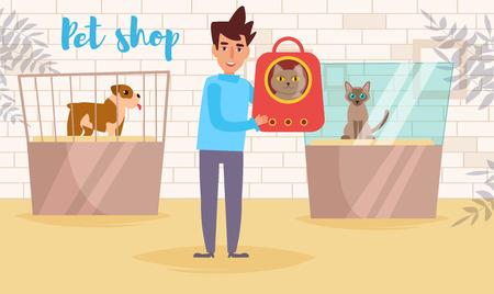 Dierenwinkel Vector. Tekenfilm. Geïsoleerde kunst. Flat Cat show Man