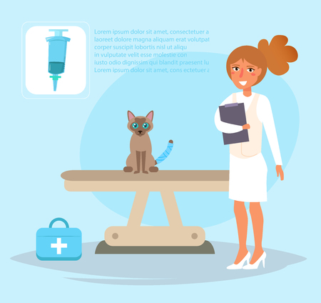 Veterinarian Vector. Cartoon. Isolated art. Flat Woman Standard-Bild - 109513998