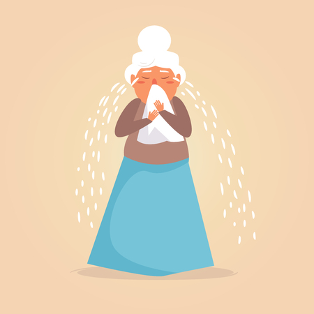 Old person crying Vector. Cartoon. Isolated art on white background. Illustration
