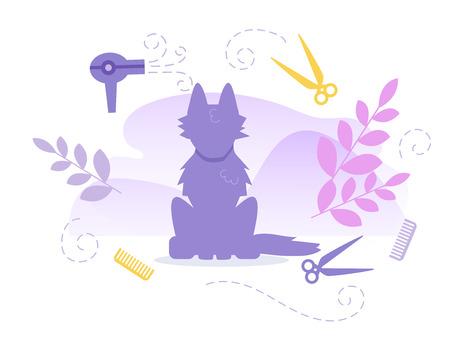 Hairdresser for animals Groomer Vector. Cartoon. Isolated art on white background. Flat