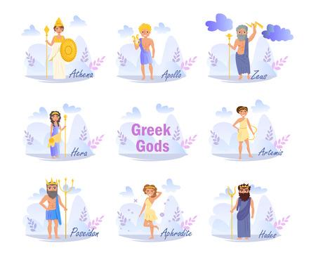 Vector. Cartoon. Isolated art on white background. Flat Greek gods.