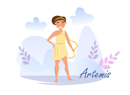 Artemis Vector. Cartoon. Isolated art on white background. Flat