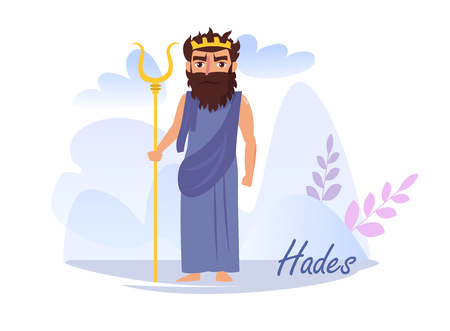 Hades Vector. Cartoon. Isolated art on white background. Flat