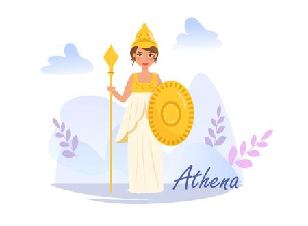 Athena Vector. Cartoon. Isolated art on white background. Flat Illustration